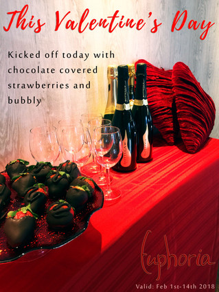 Strawberries and champagne every day till Valentine's Day for all our guests!