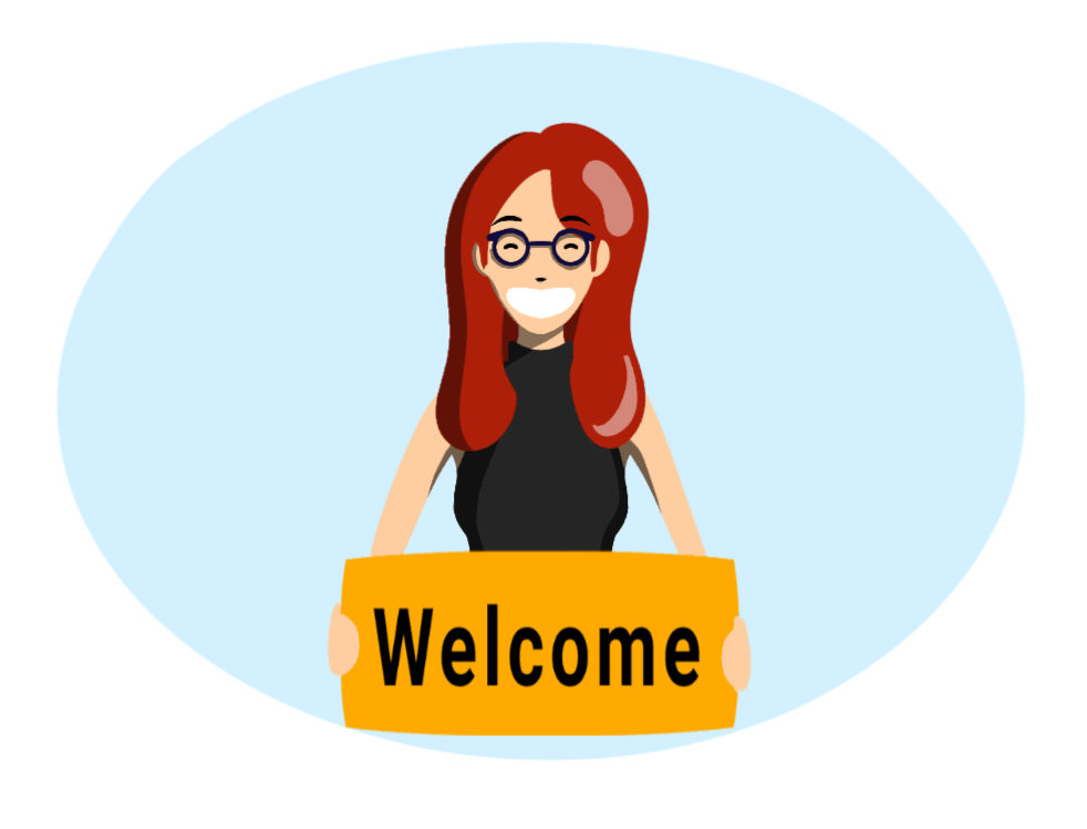 Buzzy Graphics Manchester and lancashire freelance graphic designer and illustrator available for hire remotely Flat illustration red haired woman holding a welcome sign
