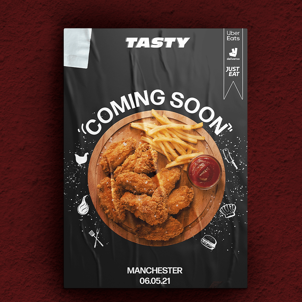 Buzzy Graphics a freelance graphic designer and illustrator in manchester and Lancashire available for hire remotely for poster and social media posts conveying high quality and luxury to your chicken take away restaurants.