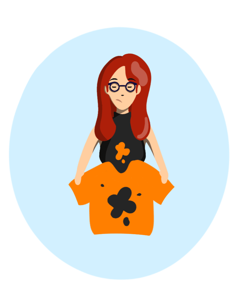 Buzzy Graphics Manchester and lancashire freelance graphic designer and illustrator available for hire remotely Flat illustration red hiared woman holding a top with paint