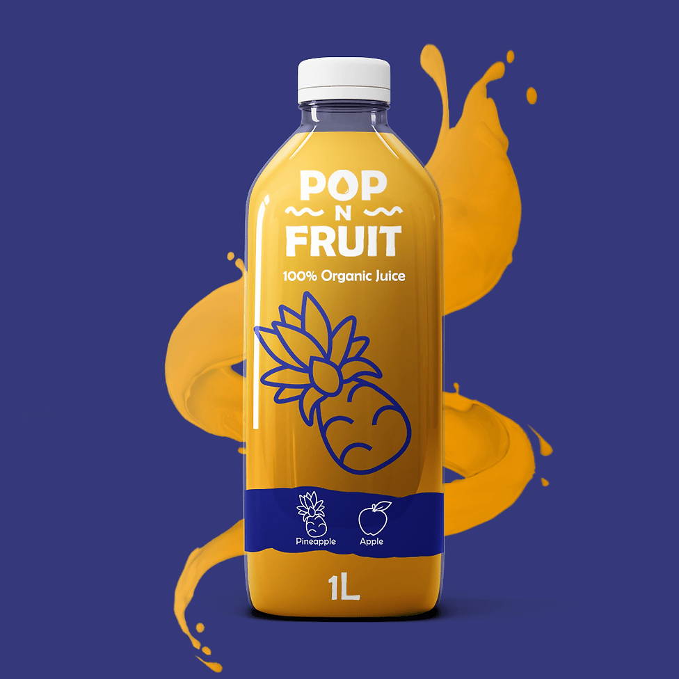 Buzzy graphics creates a playful juice brand from scratch including logo colour font packaging design and illustrations