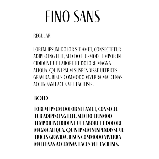 A font, like to a logo design or other aspect within visual branding has to represent the brand.  ​  The Fino Sans font was chosen due to its variety of width, this creates the feeling of sophistication and professionalist yet the font is interesting and unique which perfectly represent interiror design.  graphic design visual branding