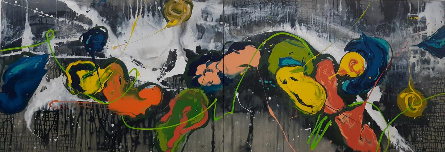 Peintre abstrait-Florence Pages-Art Rithmetique-y=2sin(2x+5)