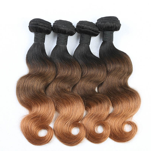 Brazilian body Wave hair ombre (black to brown)