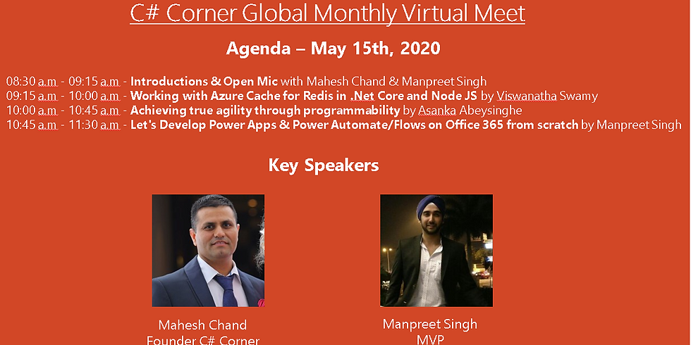 Join the C# Corner Global Monthly Virtual Meet