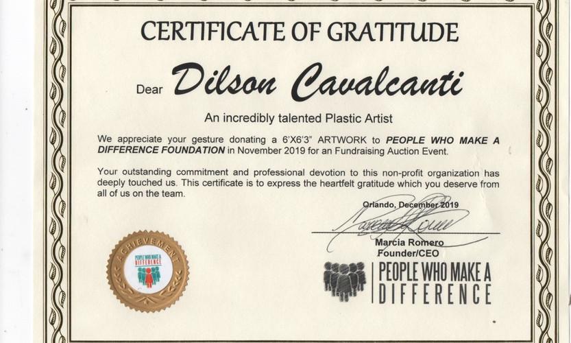 Certificate og Gratitude