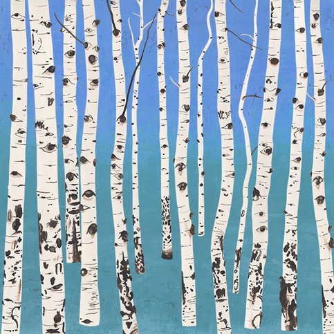 Aspen Trees II, 15W x 15H inches, gouache on paper and digital hybrid