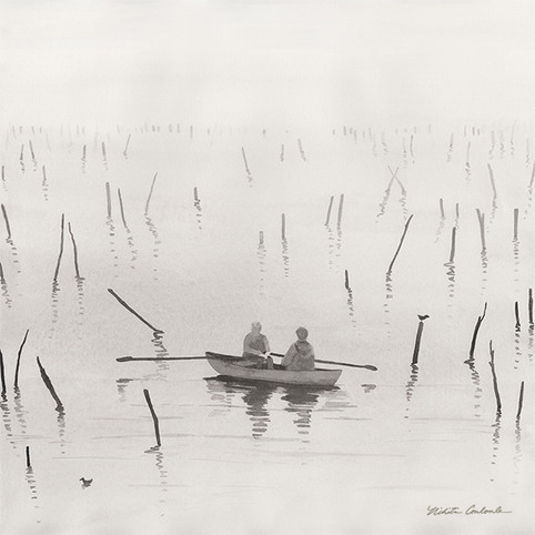 Fisherman in the Mist II, 12W x 12H inches, watercolor on paper, SOLD