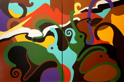 Animal Spirits, two separate canvases each 36W x 48H inches, acrylic on canvas, SOLD