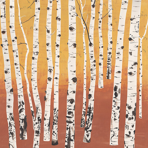Aspen Trees I, 15W x 15H inches, gouache on paper and digital hybrid