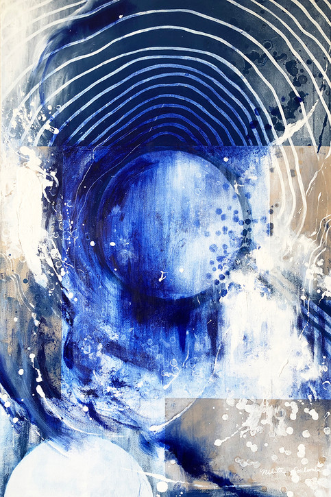 Primordial I, 24W x 36H inches, mixed media on canvas, SOLD
