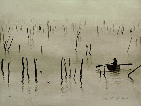 Fisherman in the Mist, 12W x 9H inches, watercolor on paper, SOLD