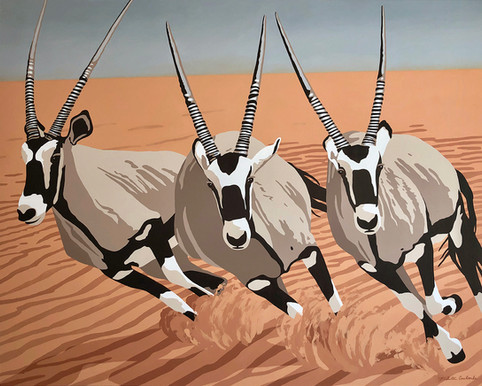 Oryxes, 60W x 48H inches, acrylic on canvas  The oryxes in this painting are known as Gemsboks. I was inspired to paint them because I kept seeing foxes everywhere and one of my friends suggested looking up the Oryx as they possess a similar energy. I thought that they were beautiful animals and chose to highlight their agility and speed by putting them in the foreground of this painting to provide a sense of immediacy.  Original - $3,750