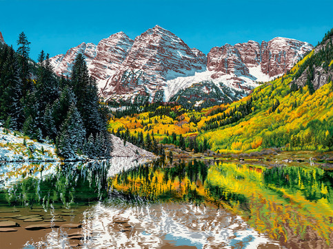 Maroon Bells, 48W x 36H inches, acrylic on canvas, SOLD  Maroon Bells is one of the most iconic places to visit and hike in Colorado. This painting shows the landscape on the cusp between autumn and winter, which I think is the most beautiful. It's kind of magical to walk through the aspen trees when they are exploding with color.