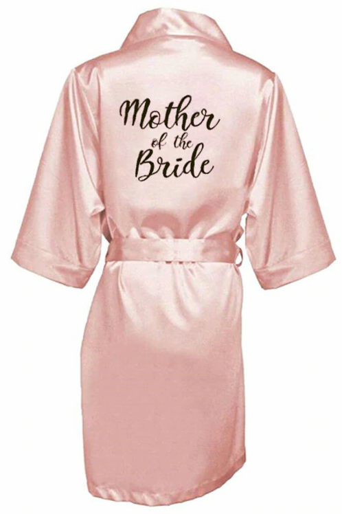 Bride Bridesmaid Robe With White Black Letters Mother Sister of the Bride