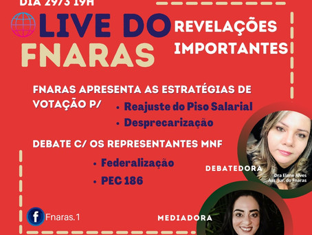 Dia 29 de Março, às 19h - Live do FNARAS