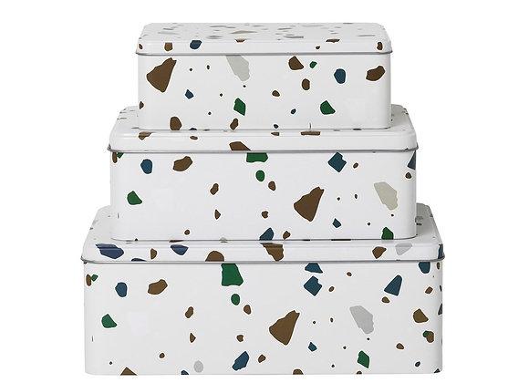Ferm Living Terrazzo Tin Boxes- Grey (Set of 3)