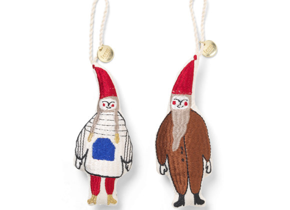 Ferm Living Elf Embroidered Ornament- Set of 2