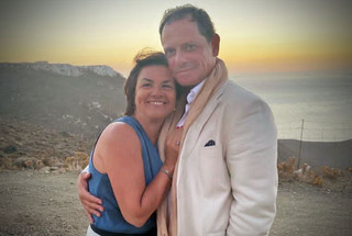 With my husband Spyros, in August 2020