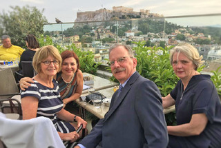 With former PACE President Anne Brasseur, colleague João Ary and his wife Joca, in Athens, in May 2018