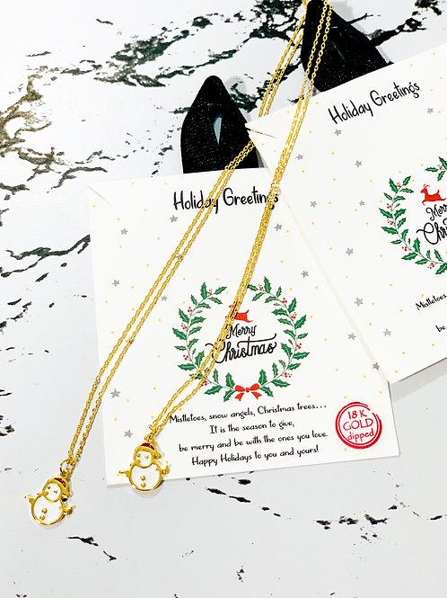 Snow Man Christmas Necklace