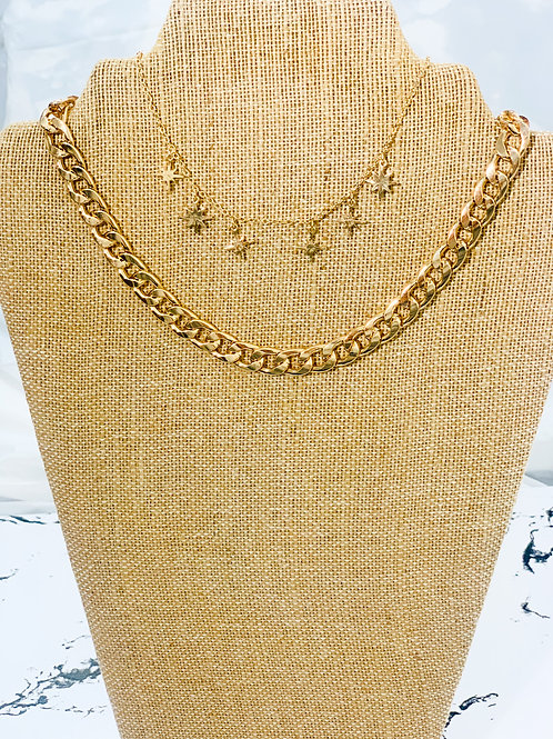 small cuban link/ small stars necklace
