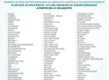 Ministerio de Hacienda pública lista de servicios digitales transfronterizos sujetos al 13% de IVA