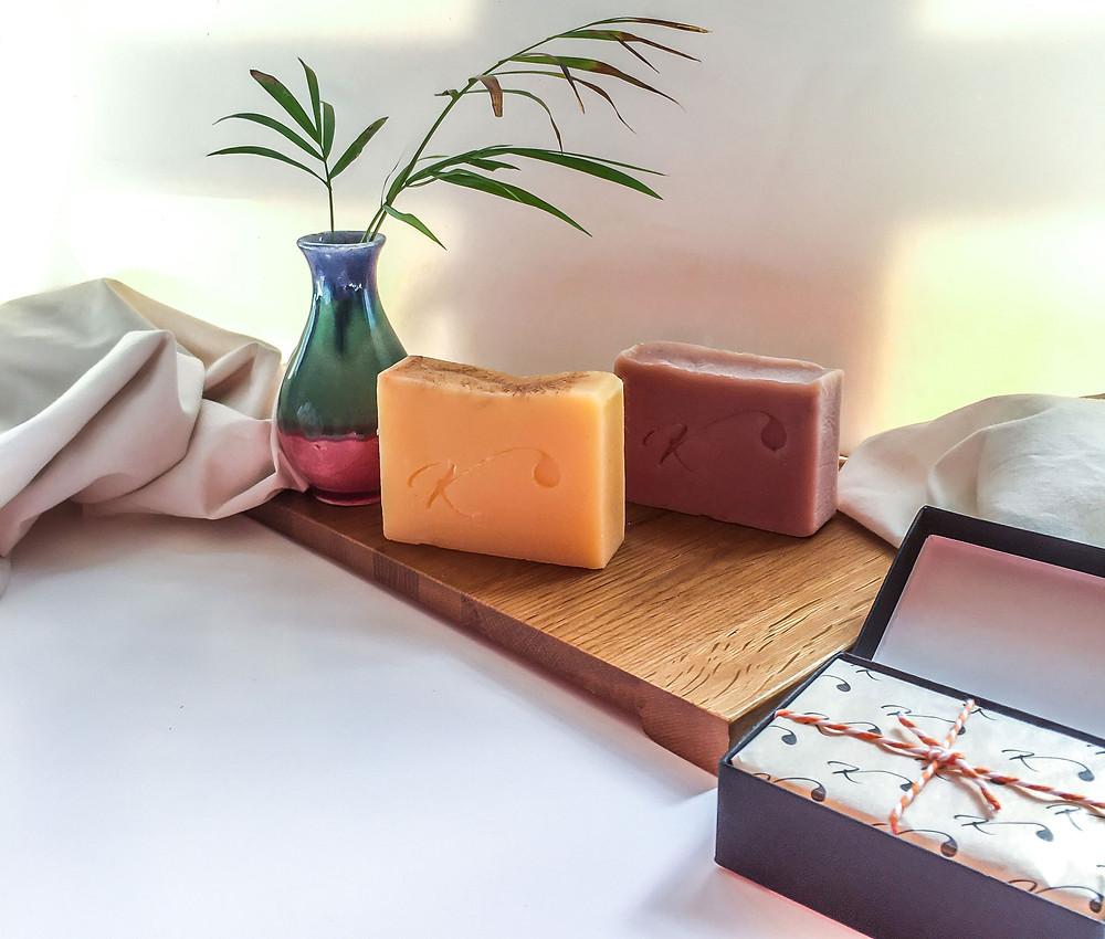 Kalabash-handmade-soap-range-six-pink-black-purple-orange-green-white