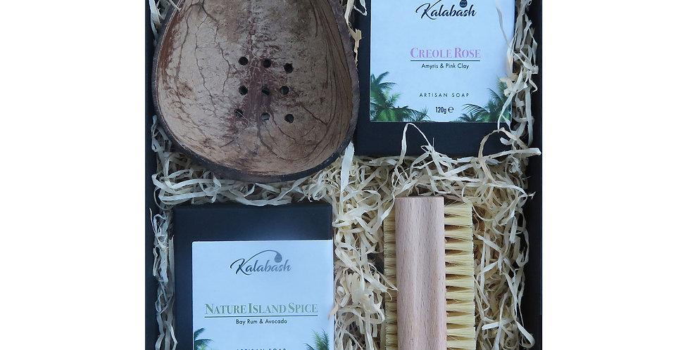 Artisan Soap Duo, Coconut Soap Dish and Natural Nail Brush Gift Set