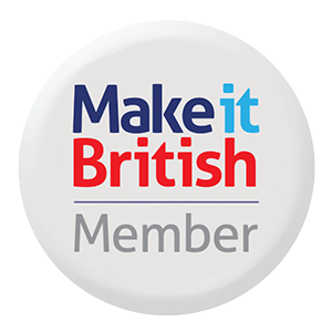 Make it British logo in Red With and Blue text