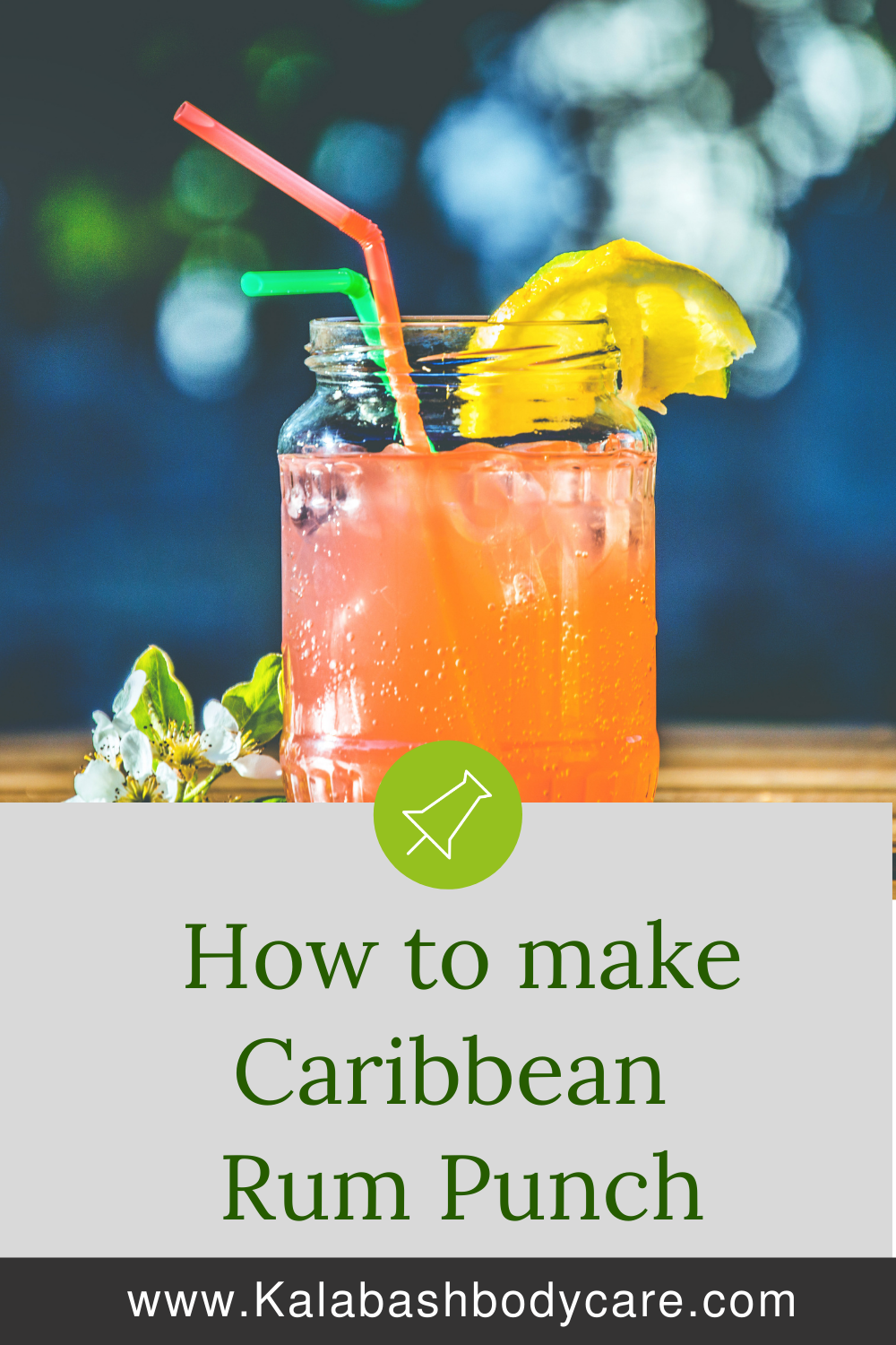 How to make Caribbean Rum Punch text and cocktail in a glass with straws on blue background
