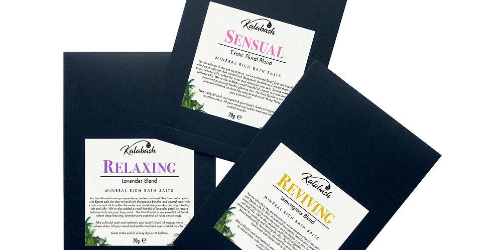 Bath salt sachet trio - with pure essential oils - Kalabash Bodycare