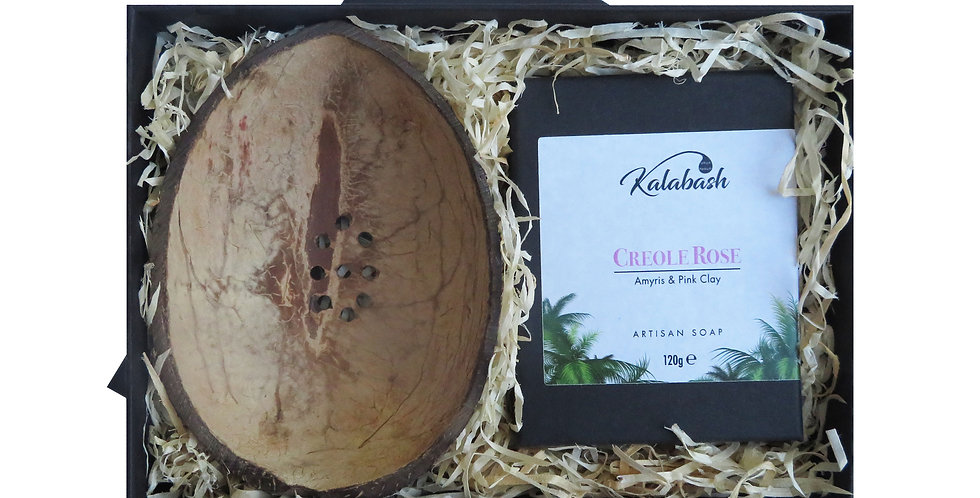 Artisan Soap and Coconut Shell Soap Dish Gift Set
