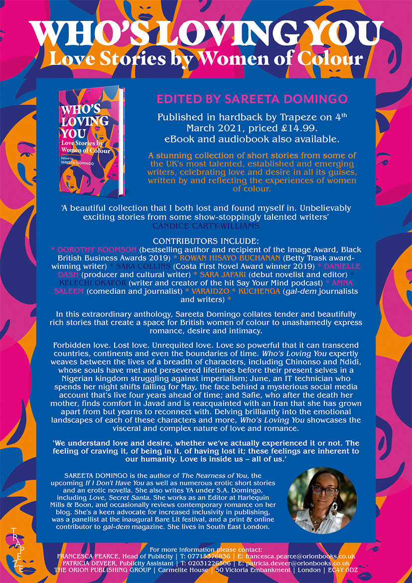 Who's Loving You press release, poster vibrant pink purple and orange background with details of the book launch on 4th March priced £14.99.