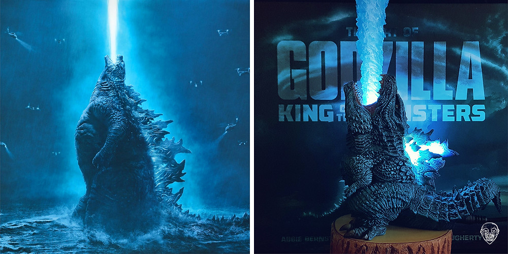 Pose comparison between theatrical poster (left) with actual figurine (right).