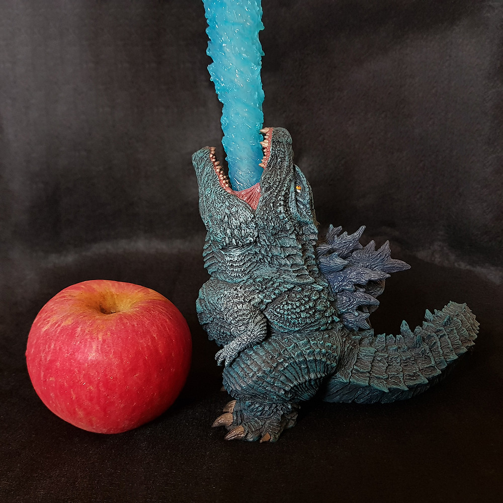 Size comparison of Defo-Real Godzilla 2019 with an apple