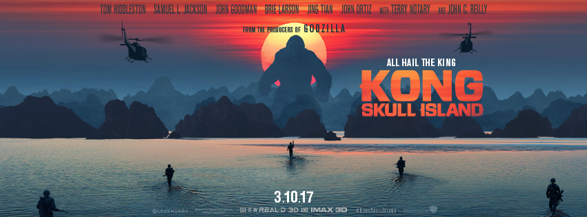 Theatrical poster banner of Kong: Skull Island 2017.