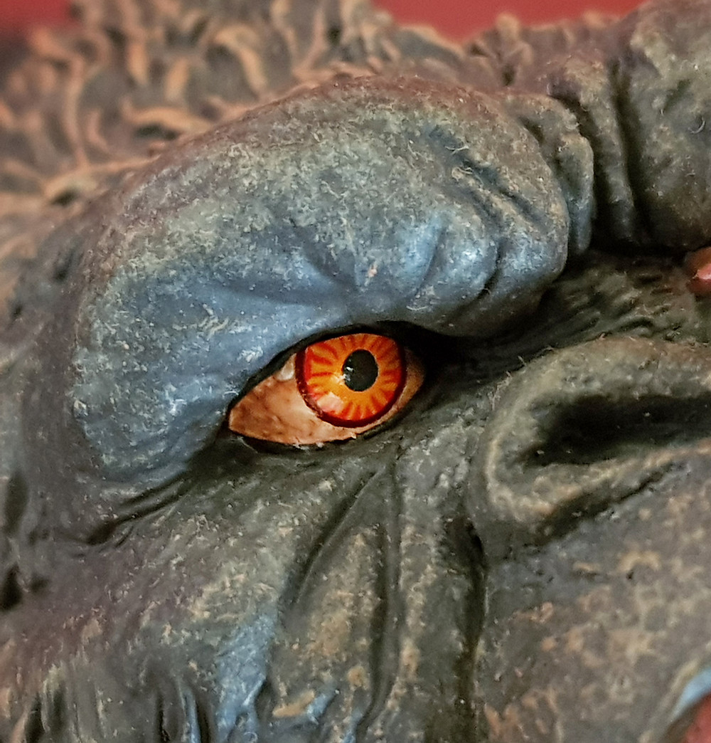 Close-up on the eye of Defo-Real Kong.