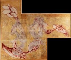 Scott Nicol - untitled - conte, graphite, beeswax on vellum - 72'' X 84''