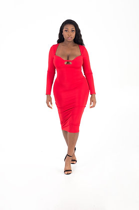 Ruby Red Sexy Midi Dress
