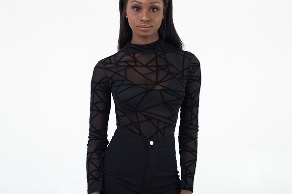 Geometric Black Bodysuit