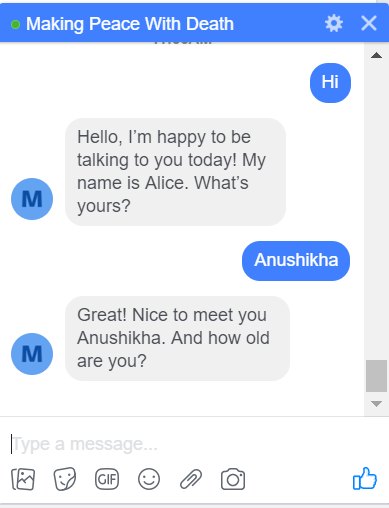 HCI Design Sprint 3: Meet Alice, the chatbot that helps you talk about death