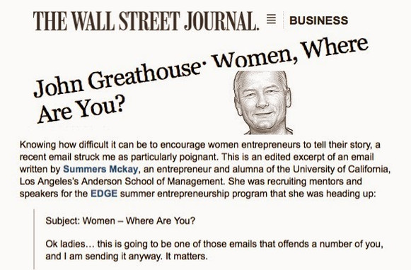 Women, Where Are You? Oh yeah, and I got ink in the Wall Street Journal.