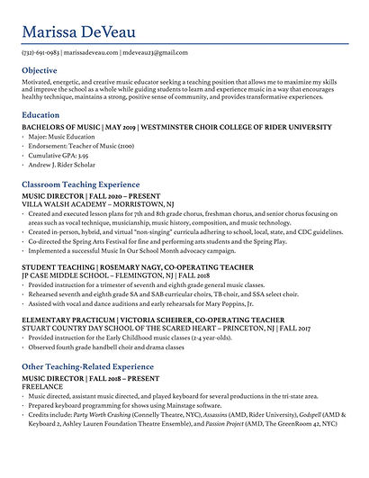 NA Marissa DeVeau - Teaching Resume 2021