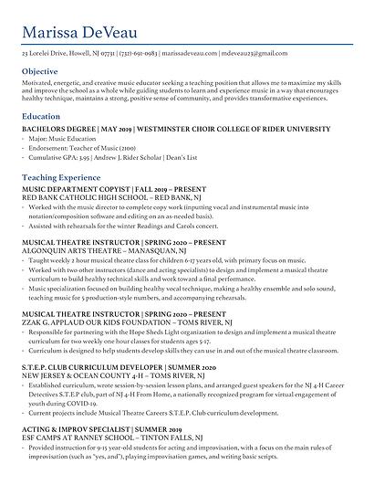Marissa DeVeau - Teaching Resume 2020.pn