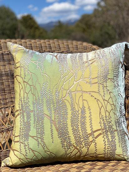 Willow metallic devore velvet pillow