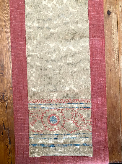 "Cotton embroidered runner 16""x72"""