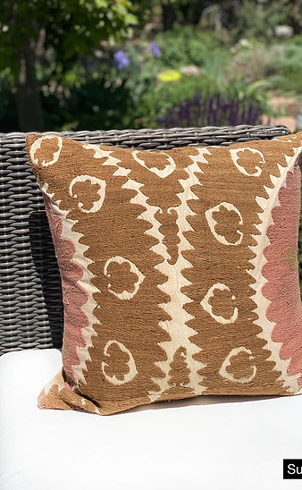 Handwoven vintage Suzani pillows from Turkey
