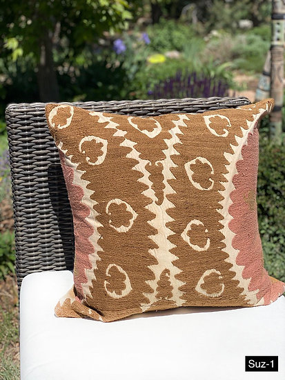 Handwoven vintage Suzani pillows from Turkey