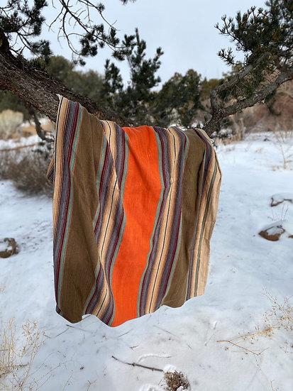 """Sergio Martinez cotton throw """"Orange & Moss"""""""